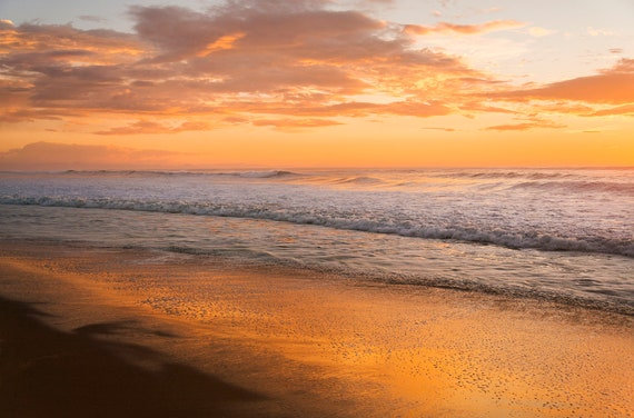 Golden Sunset, Golden Seascape, Sunset Beach, Limited Edition Print, Scenic Print, Beautiful Beach