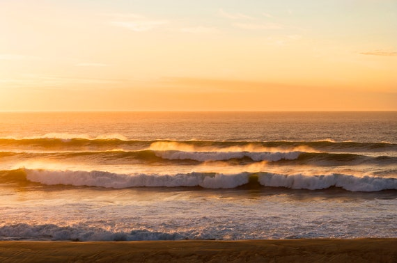 Golden Lines, Waves Print, Coastal Print, Sunset Seascape Print, Large Wall Art, Hossegor Sunset, Ocean Print