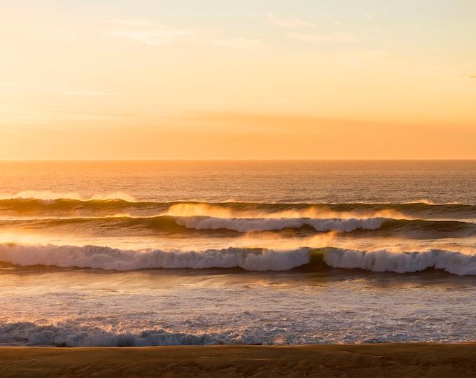 Golden Lines, Waves Print, Coastal Print, Sunset Seascape Print, Large Wall Art, Hossegor Sunset, Ocean Print