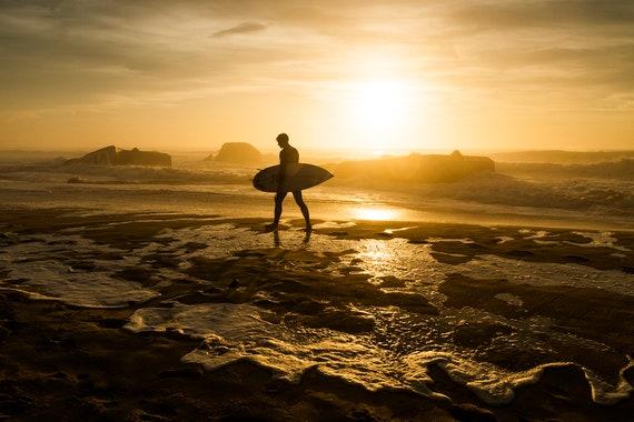 Surfer Print, Sunset Surfer, Surfer in Silhouette, Beach Wall Art, Surfing Print, Coastal Art print, Beach Print