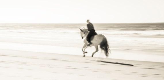BEACH RIDING. Tarifa, Horseriding Print, Travel Photography, Horse Print, Sepia Tone Print