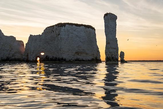 Old Harry Rocks 2, Dorset Prints, Seascape Print, Dorset Coastline, Sunset Print, Jurassic Coastline