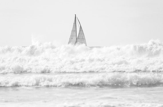 Sailing Print, Yacht Print, Coastal Art, Sailing Boat, Black and White Print, Ocean print