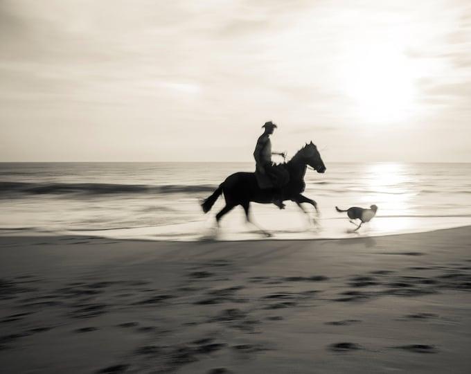 HORSE RIDING On Beach Print, Horse Wall Art