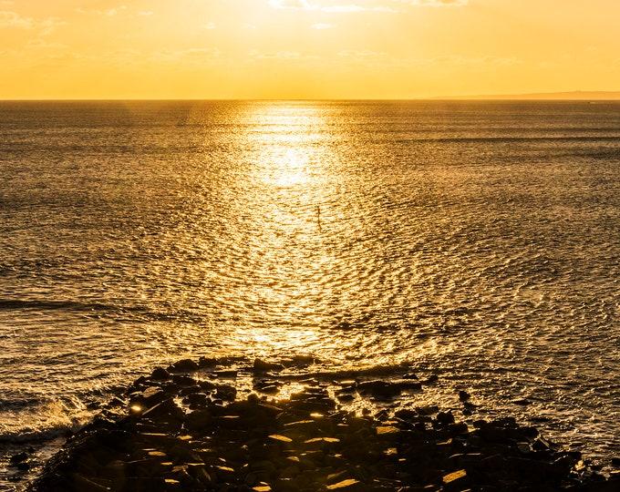 KIMMERIDGE IN GOLD. Seascape Print, Dorset Print,Sunset Print, Kimmeridge Bay, Coastal prints, Ocean Print, Large Prints, Panoramic Prints