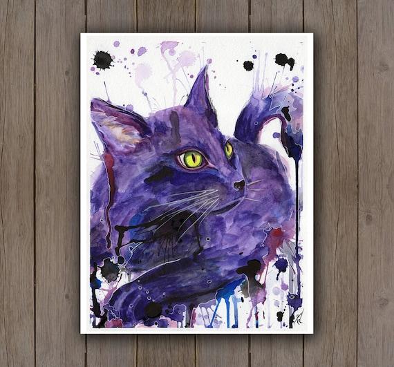 Watercolour Art Print Black Cat Portrait Purple Pet Etsy