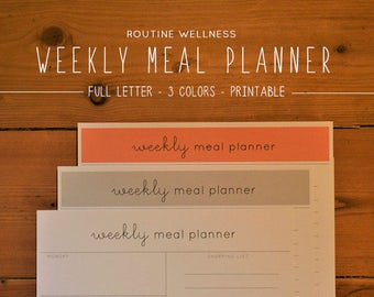 Meal Planner Printable, Printable Planner, Minimalist Planner, Meal Planning, Grocery List, Healthy Habits, Instant Download