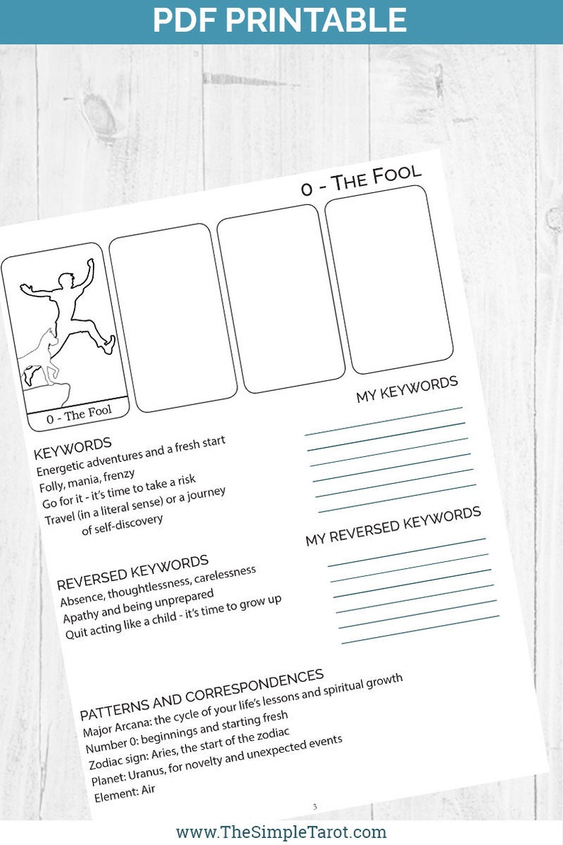 photo relating to Free Printable Tarot Journal named PDF Printable Tarot Card Meanings Workbook - build your personal Tarot Bible with this tarot magazine versus The Easy Tarot