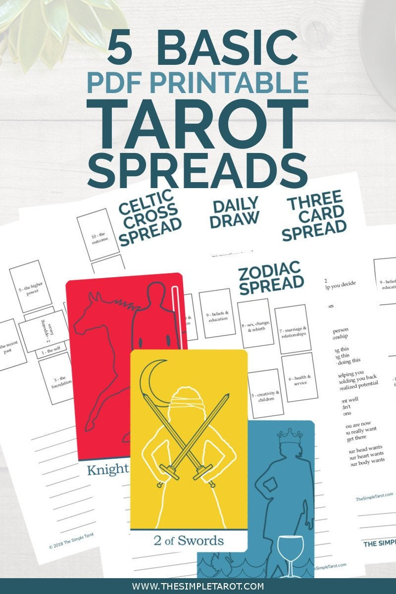 Basic Tarot Spreads Bundle 5 Digital Tarot Journal Pages