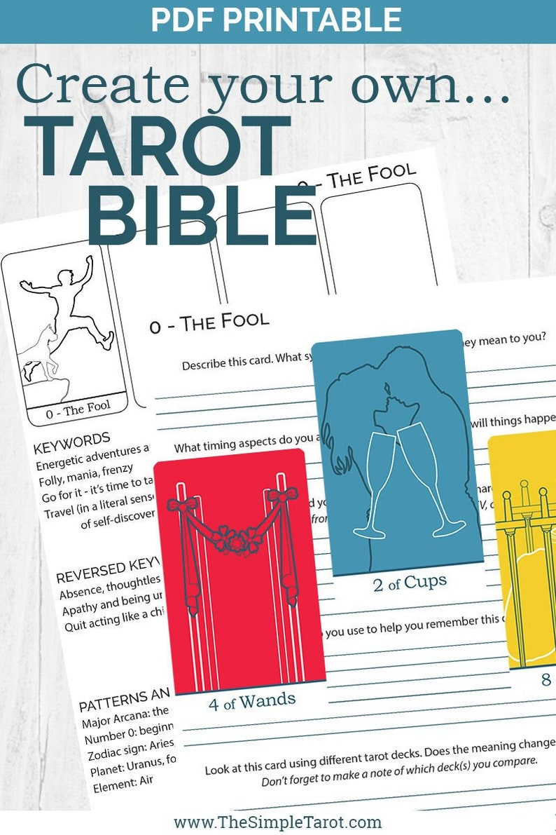 photograph regarding Printable Tarot Cards With Meanings referred to as PDF Printable Tarot Card Meanings Workbook - build your personalized Tarot Bible with this tarot magazine in opposition to The Straightforward Tarot