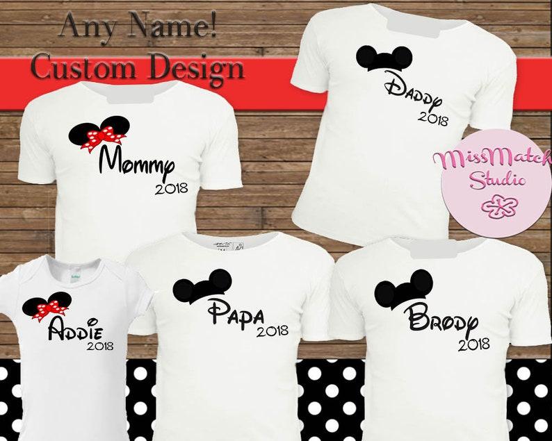 a31773ec Mickey Mouse Birthday Red Dot Mom Dad T-Shirt Shipped Mickey   Etsy