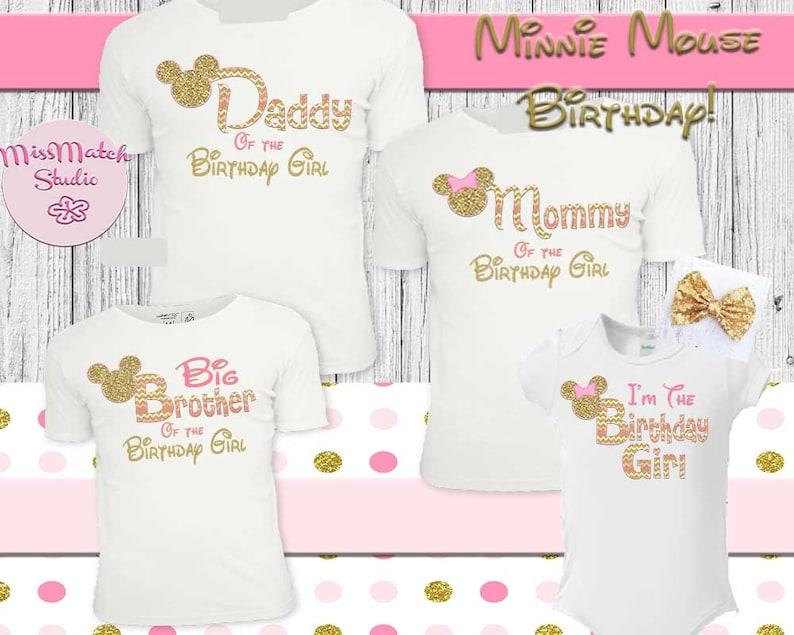 dc009decb Minnie Mouse Birthday Pink Mom Dad T-Shirt Shipped Minnie | Etsy
