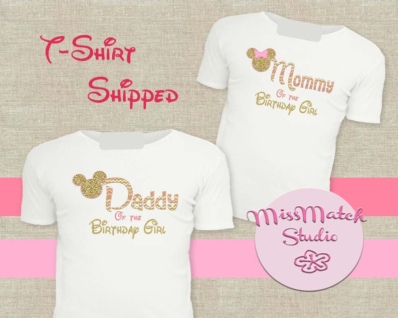 Pink SALE Mommy Daddy T Shirt Shipped Minnie Mickey Mouse