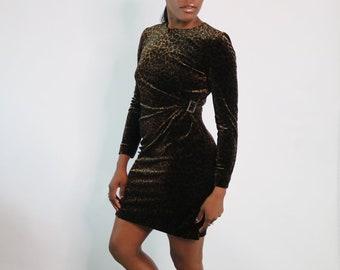 7008a326379d2 90s Leopard Print Faux Wrap Dress Velour Wrap Dress Vintage Leopard Print  Dress