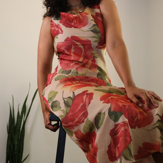 90s Maxi Dress | Rose Print Maxi Dress | Floral Ma