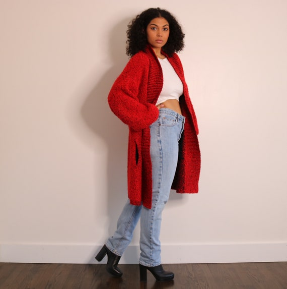 80s 90s Oversized Cardigan | Red Black Cardigan |