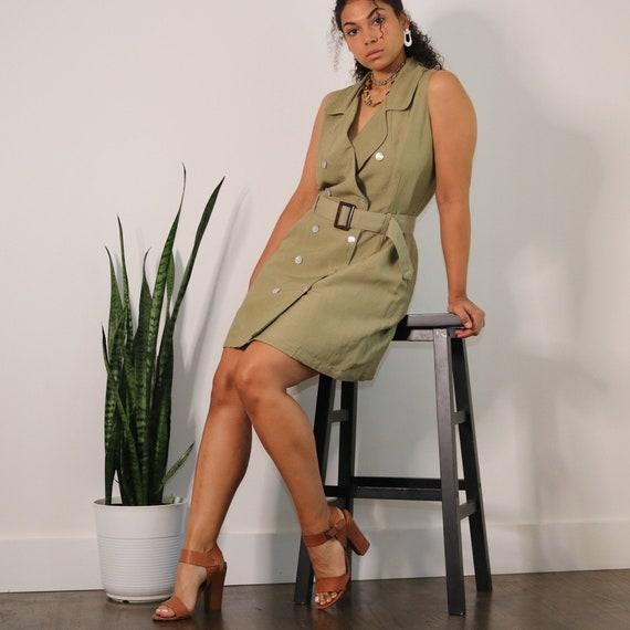 90s Linen Dress   Vintage Safari Dress   Rafaella
