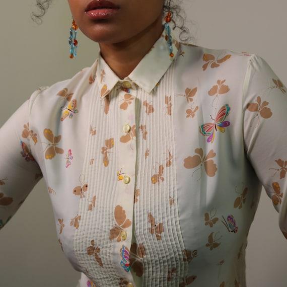 70s Button Up | Butterfly Print Blouse | 70s Novel