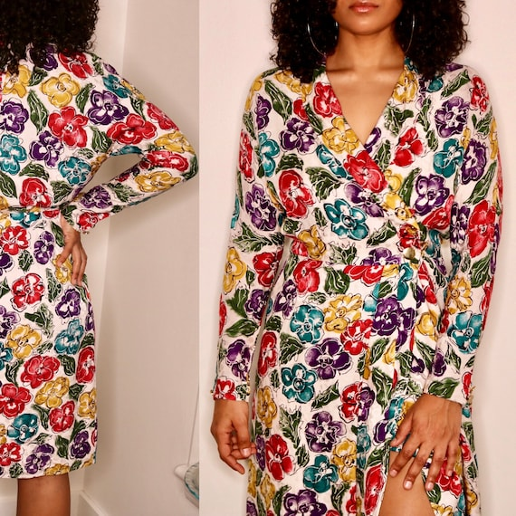 80s Silk Dress | Silk Wrap Dress | Rose Print Silk