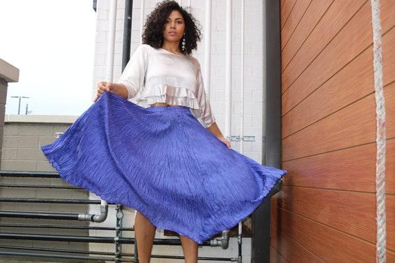 Vintage Silk Skirt | Purple Skirt | Pleated Silk S