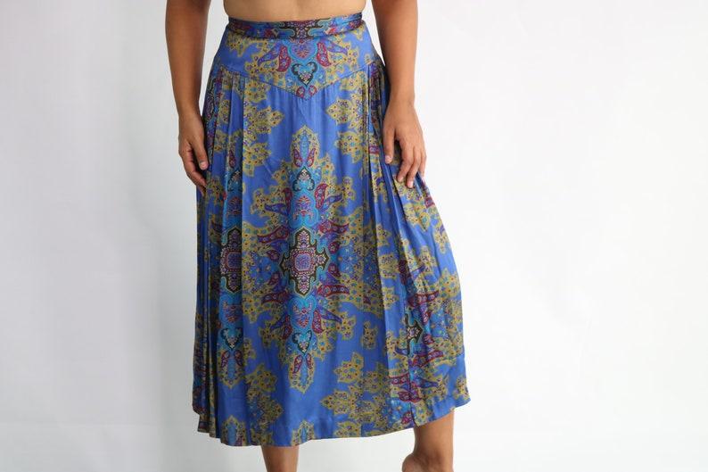 Tapestry Skirt Vintage Midi Skirt Brocade Skirt Pleated Midi Skirt Vintage Circle Skirt Vintage High Waist Skirt Medium