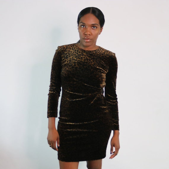 90s Animal Print Dress | Vintage Leopard Print Dre