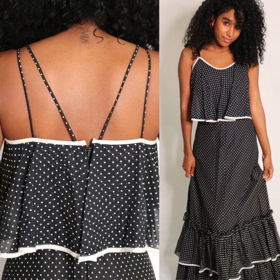 70s Maxi Dress | Polka Dot Maxi Dress | Ruffle Max