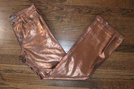 90s Leather Pants | Metallic Leather Pants | Vinta