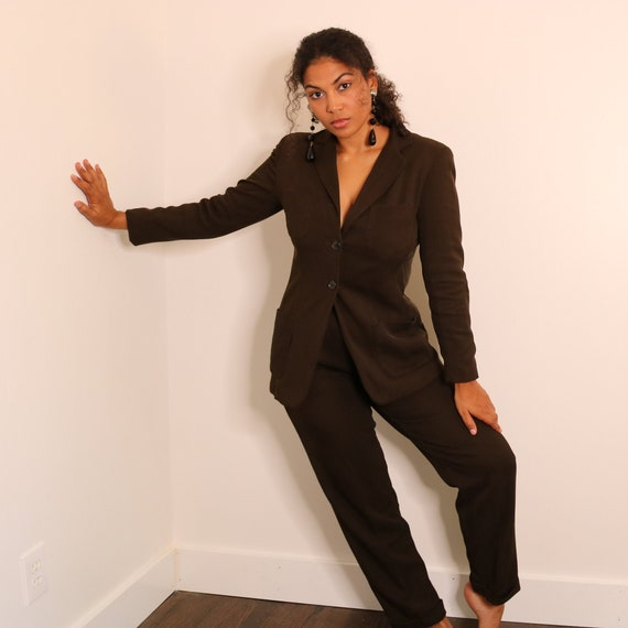 90s Olive Green Suit | Vintage Tapered Leg Suit |