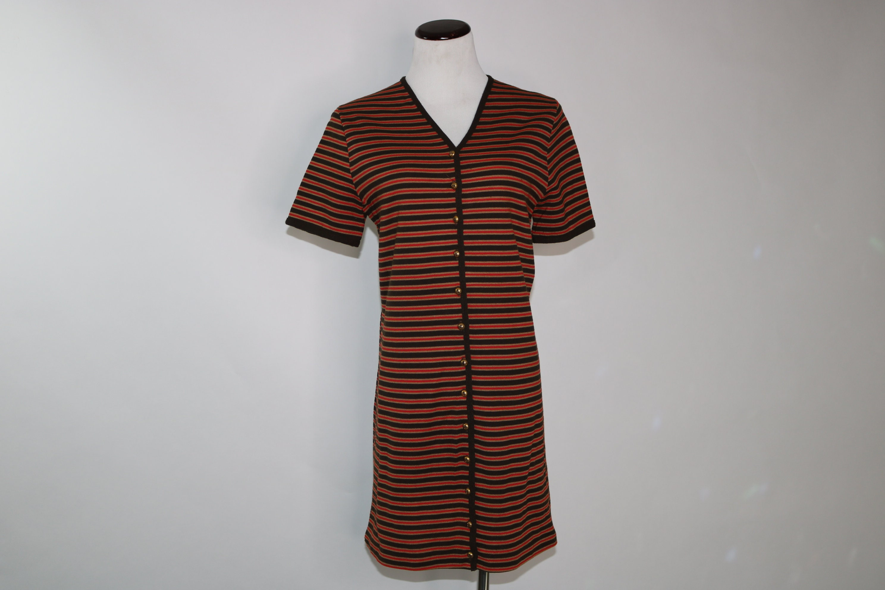 Vintage 60s 70s Mod Striped Sweater Dress Helen Whiting Medium  dd69c186b
