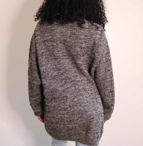 90s Oversized Cardigan | Grey Wool Cardigan | Vint