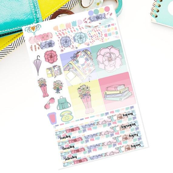 Spring Mini happy planner weekly sticker kit, Mini Happy Planner, flora  stickers, planner accessories, planner stickers