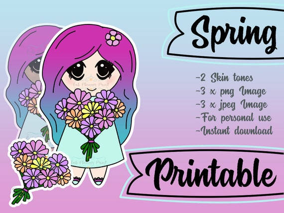 Printable Spring Flowers Planner Girl Chibi Valentines Day Etsy
