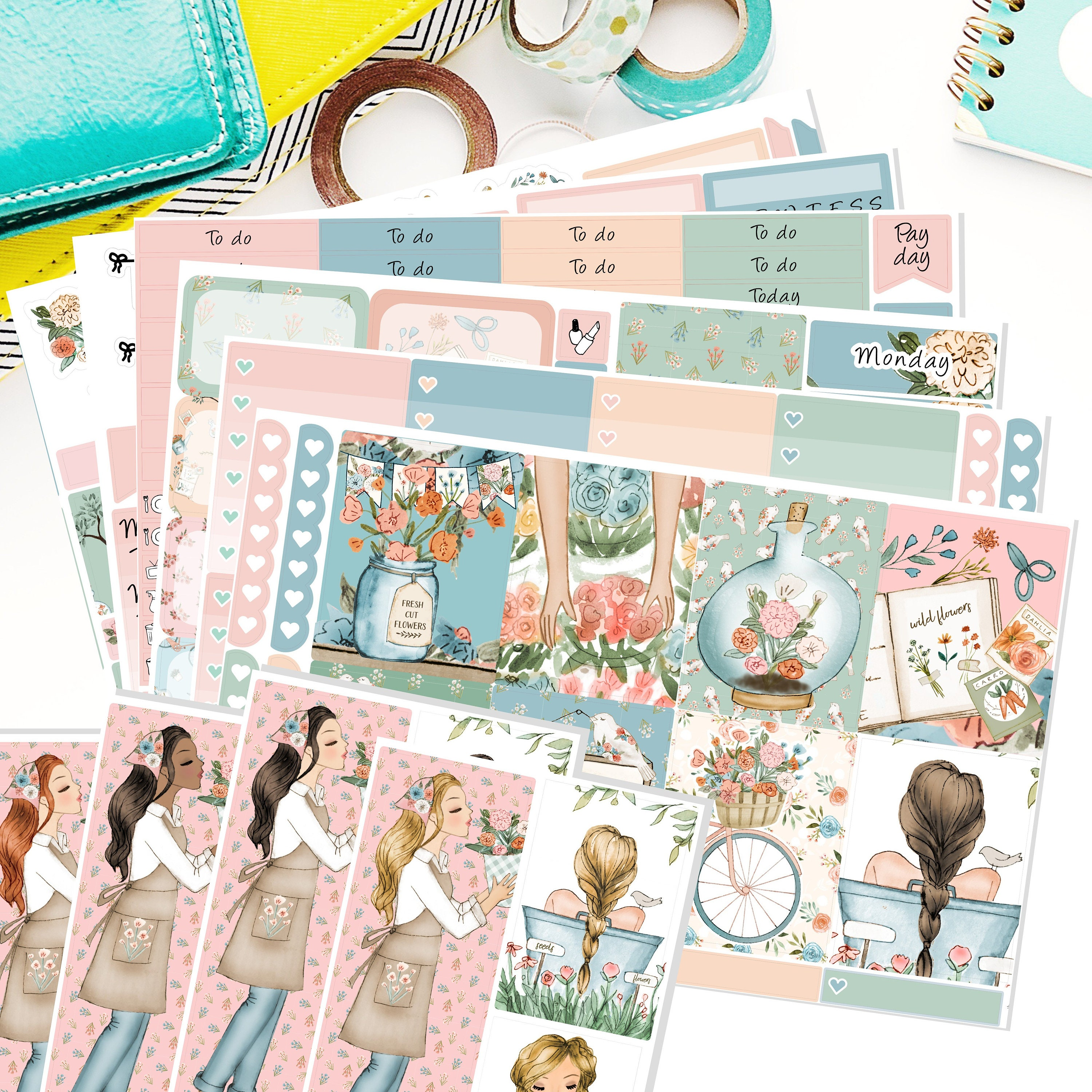 The Cottage Garden A La Carte Weekly Planner Sticker Kit To Etsy