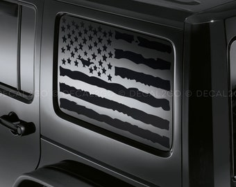 Veteran Jeep Hardtop Flag Decal USA American Wrangler JKU Window  HF5