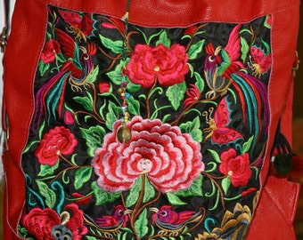 0641e7b543 Red leather boho embroidered handbag, flowers and bird design, large  backpack style, brass bells, hippy bag