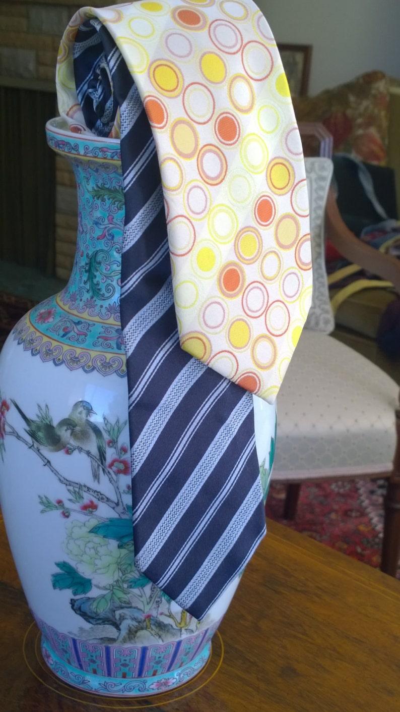1a131ed7 Ermenegildo Zegna Z perfect knot pure silk tie - Italian style, Sunflower  yellow circles, navy stripe (2 to choose from)