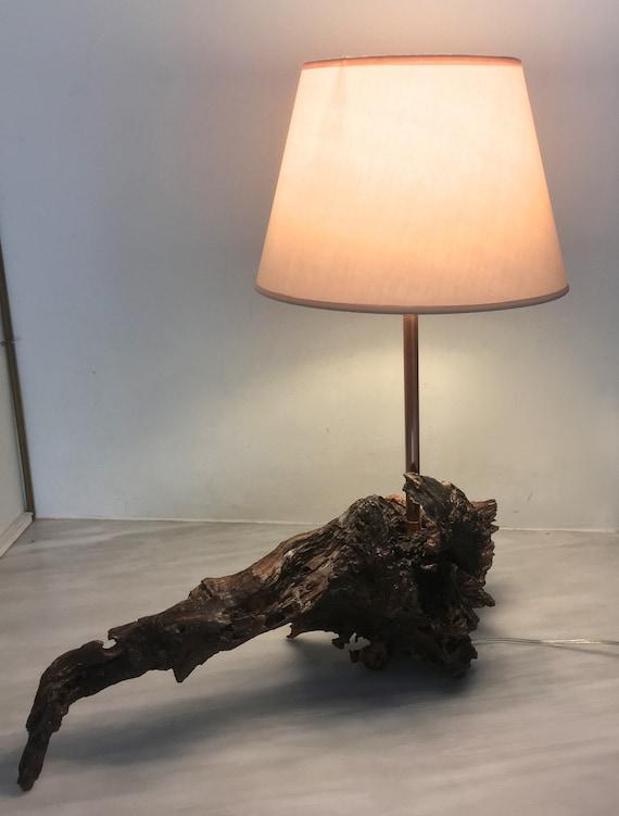 Table Lamp Driftwood Lamp Rustic Lamp Copper Lamp Wood Etsy