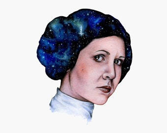 Star Wars Princess Leia Carrie Fisher ORIGINAL Hand Made Watercolour Painting