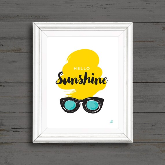 5c5af617aa95 Blonde with Sunglasses Art Print Hello Sunshine Yellow and | Etsy