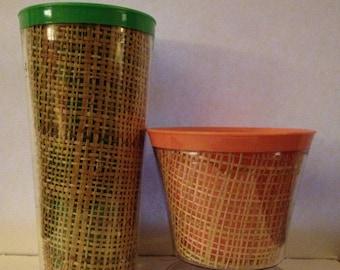 vintage set of raffia straw weave melmac tumblers and picnic glasses