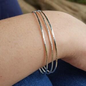 Minimalist Bracelets Thin Bracelets Stackable Bracelets Skinny Bangle Bracelets Bracelet Set Sterling Silver Stacking Bracelet Set