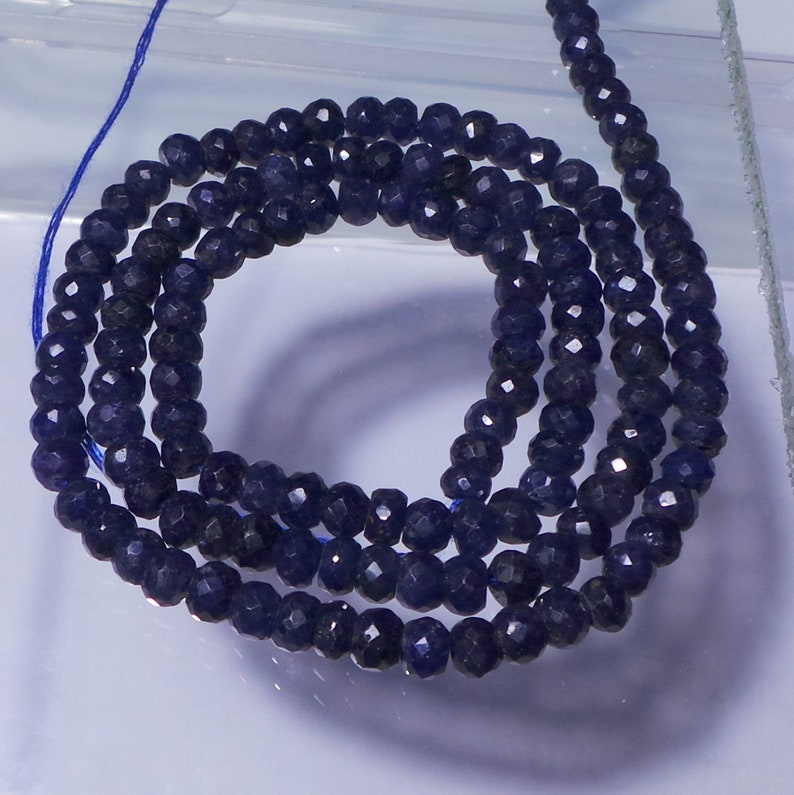 95 Carat 4 1-4 7 MM Natural Saphire Faceted Beads Rondelle Shape 16 Inch  Bsp-5