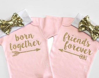 c1513970f Twin girl outfits, Born Together Friends Forever, twin baby girls, twin baby  gift, twin baby clothes, twins, twin babies