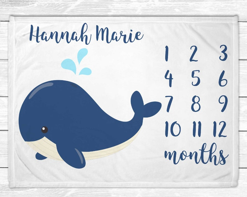 Whale Baby Monthly Milestone Blanket  Nautical Nursery Decor image 0