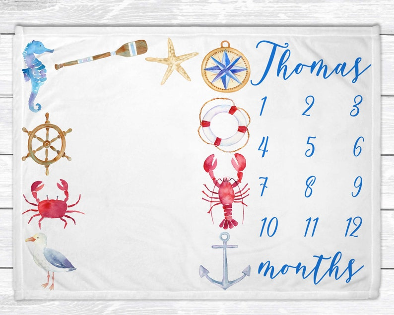 Baby Month Blanket  Monthly Baby Milestone Blanket  Nautical 30 x 40 Minky