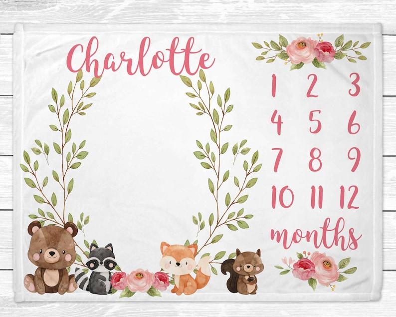 Personalized Woodland Girl Milestone Blanket  Baby Monthly image 0