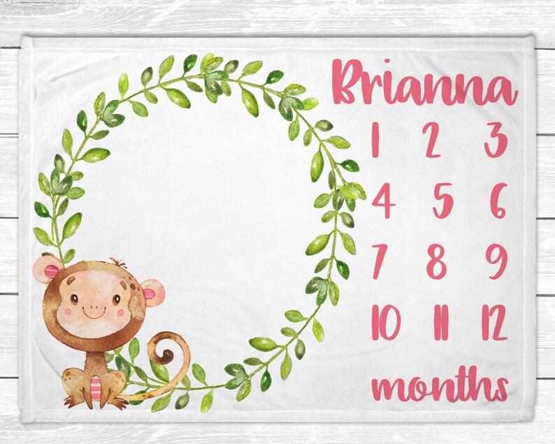 Monkey Monthly Baby Girl Milestone  Baby Girl Monthly Baby image 0