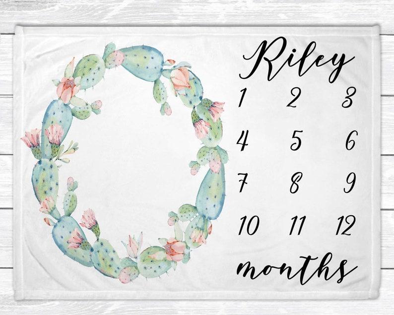Cactus Monthly Baby Milestone Blanket  Cactus Nursery Decor  image 0