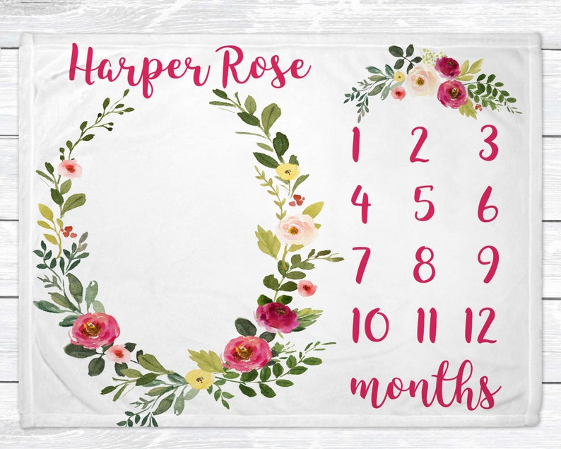 Baby Month Milestone Blanket  Personalized Floral Baby Girl 30 x 40 Minky